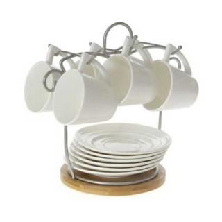 Σέτ έξι φλυτζάνια κεραμικά μέ πιατάκι, λευκό χρώμα, με ξύλινη βάση