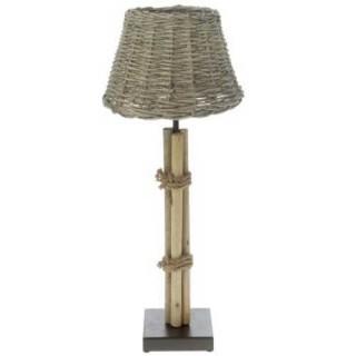 Λαμπατέρ ξύλινο με ψάθινο καπέλο 61cm