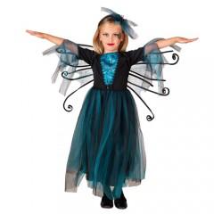 Νεράιδα με φτερά σε σκούρο μπλε χρώμα στολή για κορίτσια