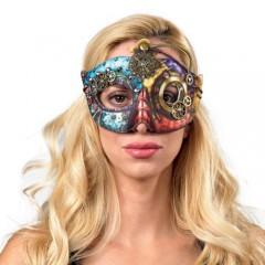 Μάσκα με γρανάζια πολύχρωμη Steampunk