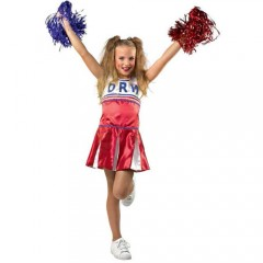 Cheerleader στολή κόκκινης μαζορέτας για κορίτσια