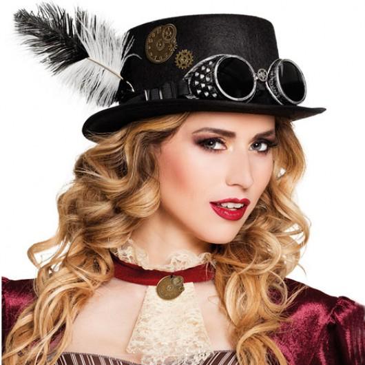 Καπέλο steampunk ημίψηλο με γυαλιά και φτερό