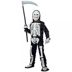 Σκελετός άσπρος στολή για αγόρια με μάσκα και κουκούλα