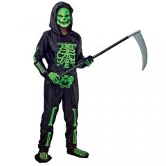 Σκελετός πράσινος στολή για αγόρια με μάσκα και κουκούλα