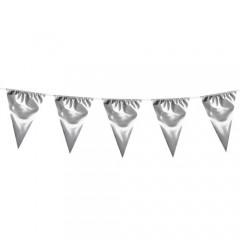 Γιρλάντα αποκριάτικη μεταλιζέ ασημένια σημαιάκια 10m