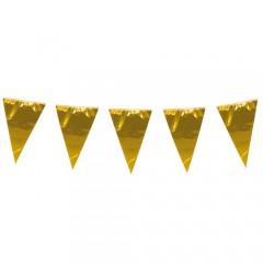 Γιρλάντα αποκριάτικη μεταλιζέ χρυσά σημαιάκια 10m