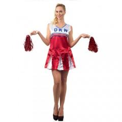 Cheerleader κόκκινη στολή μαζορέτας ενηλίκων
