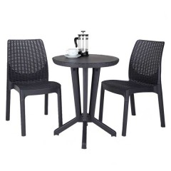 Bistro στρογγυλό τραπέζι σετ με δύο καρέκλες και σε δύο αποχρώσεις