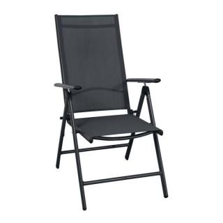 Fidji πολυθρόνα αλουμινίου μαύρη 7 θέσεων με διάτρητο πανί