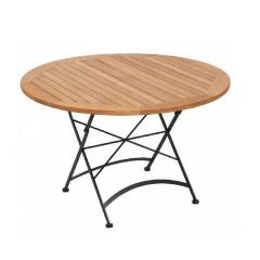 Teak τραπέζι ροτόντα 120cm πτυσσόμενη με βάση γαλβανισμένο σίδερο