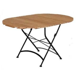Teak Τραπέζι Οβαλ 150cm Πτυσσόμενο Με Βάση Γαλβανισμένο Σίδερο