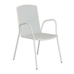 Ismil Πολυθρόνα Μεταλλική Στοιβαζόμενη Σε Λευκό χρώμα