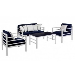 Marco Σαλόνι εξωτερικού χώρου από αλουμίνιο λευκό με μπλε μαξιλάρια