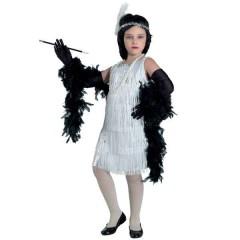Τσάρλεστον Ασημένια με κρόσσια στολή για κορίτσια