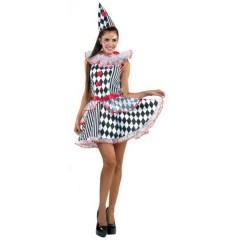Αρλεκίνος γυναικεία στολή ενηλίκων καρό με φούστα