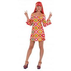 Χίπισσα 60s εμπριμέ φόρεμα γυναικεία στολή ενηλίκων
