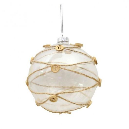 Γυάλινη διάφανη μπάλα 8cm με περιγράμματα σπάγκου και κουμπιά