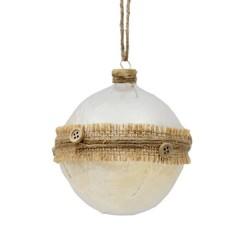 Γυάλινη διάφανη μπάλα 8cm με κορδέλα λινάτσας και κουμπιά