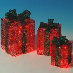 Φωτιζόμενα κουτιά δώρου κόκκινα σετ 3 τεμάχια