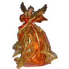 Κορυφή δέντρου χάλκινος άγγελος 30cm με ρούχα από οργάτζα