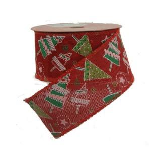 Κορδέλα 10m Ύφασμα κόκκινη λινάτσα με χριστουγεννιάτικα δεντράκια