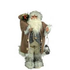 Άγιος Βασίλης 45cm καφέ γούνινο παλτό και φανάρι
