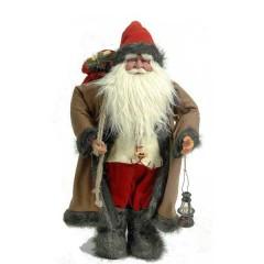 Άγιος Βασίλης 63cm με καφέ γούνινο παλτό και φανάρι