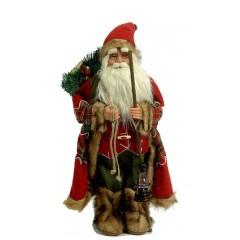 Άγιος Βασίλης 63cm μπορντό ρούχα γούνινο παλτό και μπαστούνι