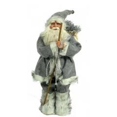 Άγιος Βασίλης 63cm γκρι ρούχα γούνινο παλτό και μπαστούνι