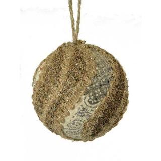 Μπάλα υφασμάτινη 8cm ντυμένη με πετραδάκι και ύφασμα με λέξεις
