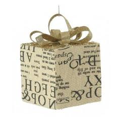 Κουτάκι δώρου στολίδι υφασμάτινο 8cm με τυπωμένες λέξεις