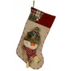 Χριστουγεννιάτικη κάλτσα 46cm καφέ κόκκινο χρώμα με φιγούρα χιονάνθρωπου