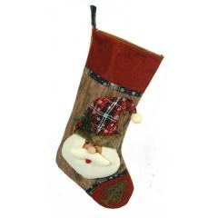 Χριστουγεννιάτικη κάλτσα 46cm κόκκινο χρώμα με άι Βασίλη
