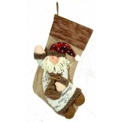 Χριστουγεννιάτικη κάλτσα 46cm με καφέ μπορντούρα και φιγούρα άγιου Βασίλη