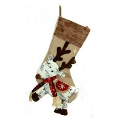 Χριστουγεννιάτικη κάλτσα 46cm με καφέ μπορντούρα και φιγούρα ταράνδου