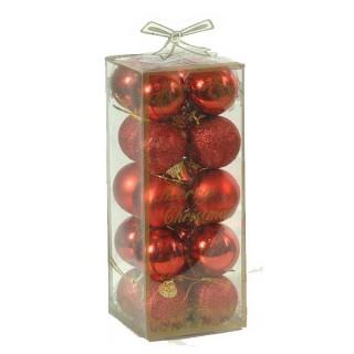 Σετ 20 κόκκινες 4cm χριστουγεννιάτικες μπαλίτσες
