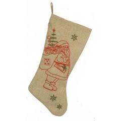 Χριστουγεννιάτικη κάλτσα 45cm από λινάτσα και παράσταση άι Βασίλη