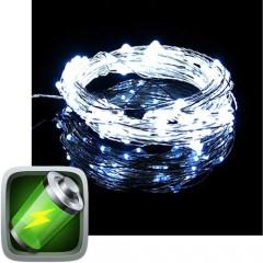 20 Λαμπάκια Led Μπαταρίας Λευκό ψυχρό φως copper χάλκινο σύρμα