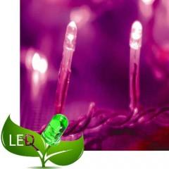 100 Λαμπάκια Led 8 Προγράμματα Διάφανο καλώδιο και Ροζ λαμπάκι