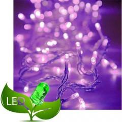 80 Λαμπάκια LED Επεκτεινόμενα Διάφανο καλώδιο με Μοβ λαμπάκι