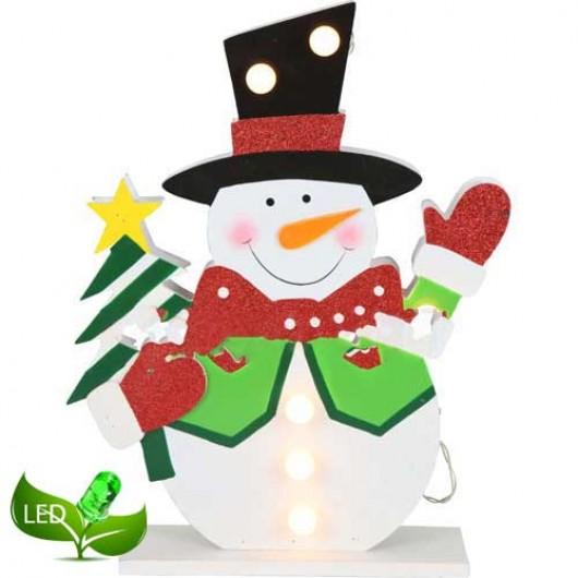Ξύλινο φωτιζόμενο διακοσμητικό 40cm χιονάνθρωπος