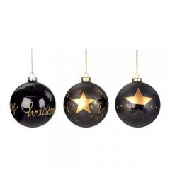 Χριστουγεννιάτικη Γυάλινη Μπάλα 8cm μαύρο χρυσό χρώμα σε τρία σχέδια