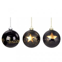 Χριστουγεννιάτικη Γυάλινη Μπάλα 10cm μαύρο χρυσό χρώμα σε τρία σχέδια