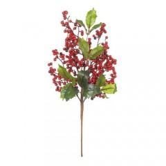 Κλαδί χριστουγεννιάτικο με γκι και κόκκινα  berries 46cm