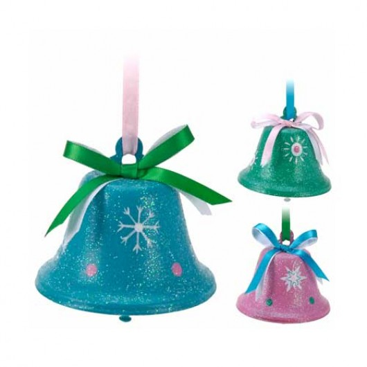 Καμπανίτσες κουδουνάκια σε τρία χριστουγεννιάτικα παστέλ χρώματα