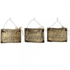 Υφασμάτινη επιγραφή με κουδούνια και τρία διαφορετικά γιορτινά  μηνύματα