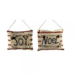 Κρεμαστό στολίδι μαξιλαράκι με χριστουγεννιάτικο μήνυμα και κουδουνάκια