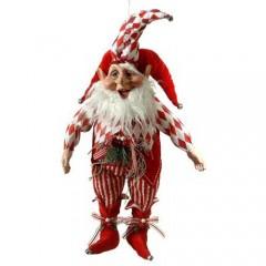 Χριστουγεννιάτικο ξωτικό παχουλό 64cm με κόκκινα ριγέ ρούχα