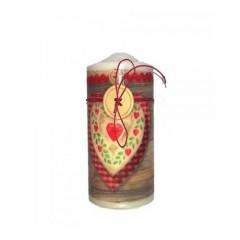 Κερί 7x15cm με κόκκινη καρό καρδιά και κουμπί