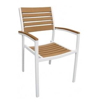 Veneto πολυθρόνα αλουμινίου λευκή στοιβαζόμενη με ξύλο polywood
